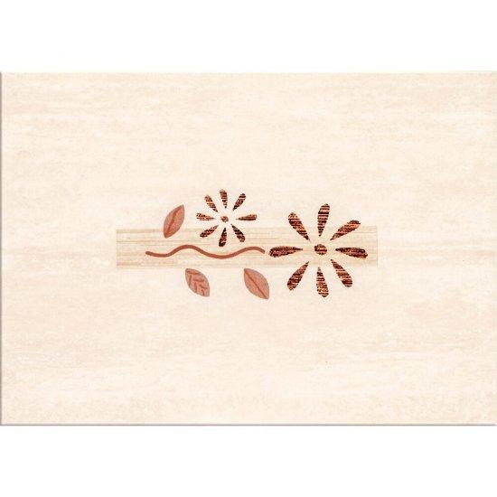 Płytka ścienna VIOLA jasnobeżowa inserto kwiaty 25x35 gat. I