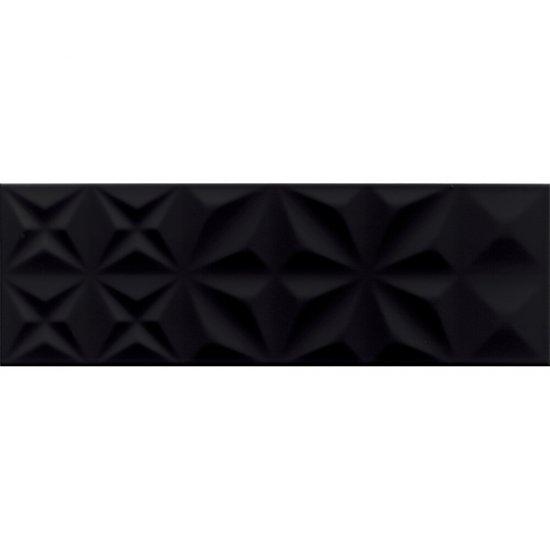 Płytka ścienna ELEGANZA czarna squares błyszcząca 25x75 gat. II