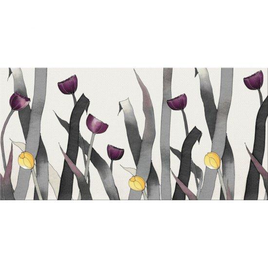Płytka ścienna ELEGANT TEXTILE multikolor inserto kwiaty błyszcząca 29,7x60 gat. I