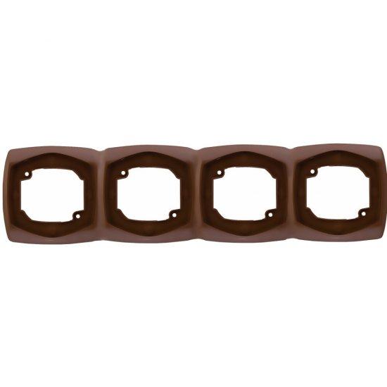 Ramka COMFORT poczwórna pozioma R-4XH.BR brązowy Polmark