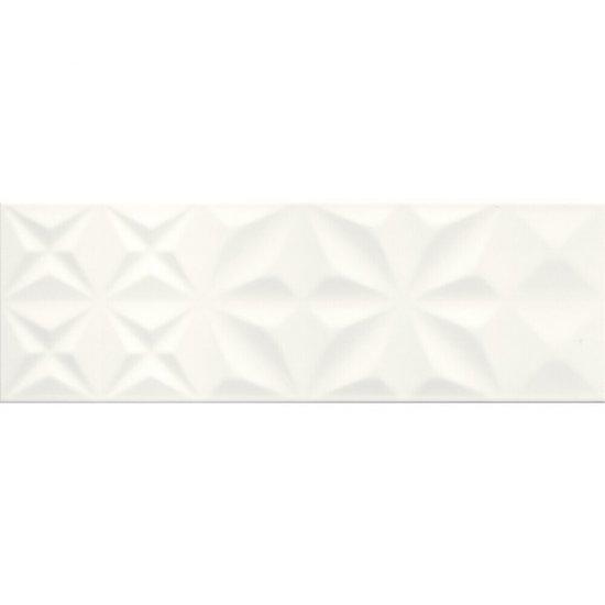 Płytka ścienna ELEGANZA biała squares błyszcząca 25x75 gat. II