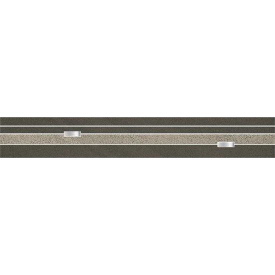 Gres zdobiony KANDO czarno-szary listwa paski poler 9x59,4 gat. I