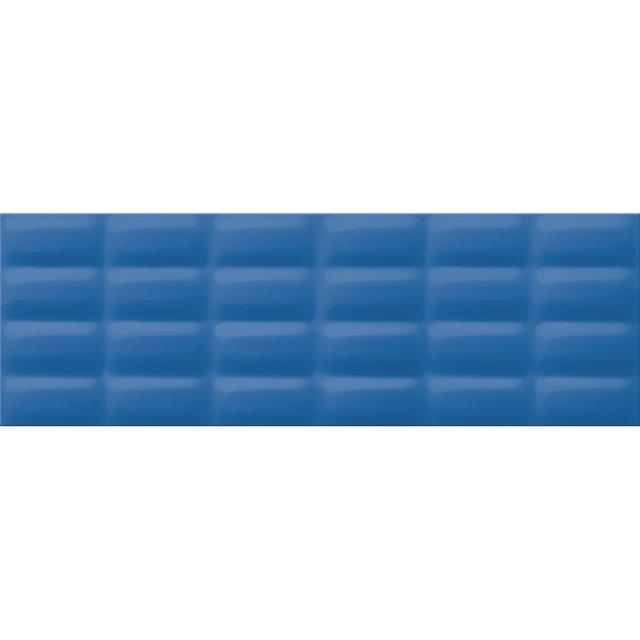 Płytka ścienna VIVID COLOURS niebieska pillowstruktura błyszcząca 25x75 gat. II