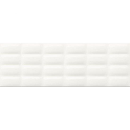 Płytka ścienna WHITE MAGIC biała struktura pillow błyszcząca 25x75 gat. II