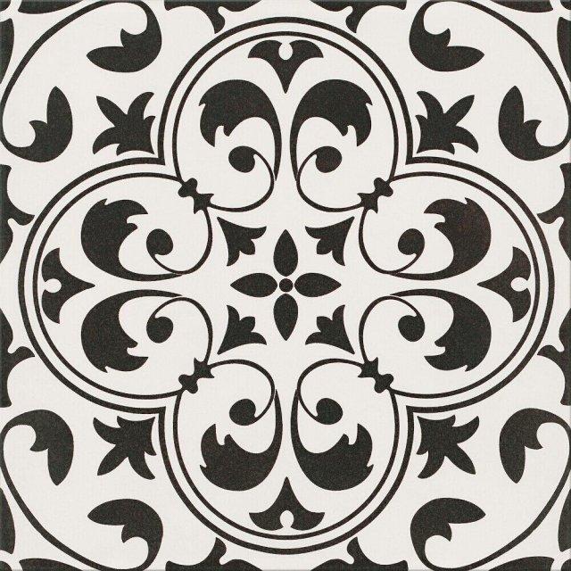Gres szkliwiony PATCHWORK CONCEPT biało-czarny naomi satyna 29,8x29,8 gat. II