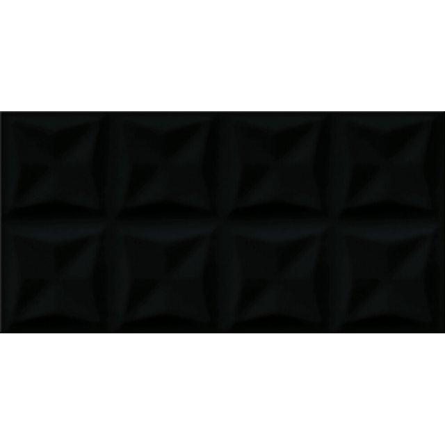 Płytka ścienna ORIGAMI DUNE czarna struktura błyszcząca 29,7x60 gat. II