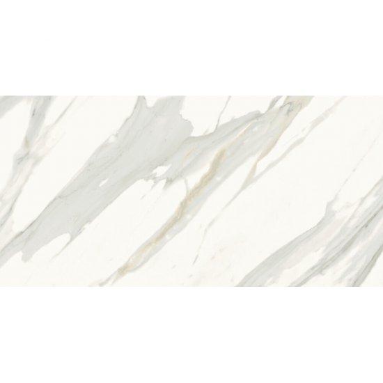 Gres szkliwiony CALACATTA GOLD biały poler 59,8x119,8 gat. II
