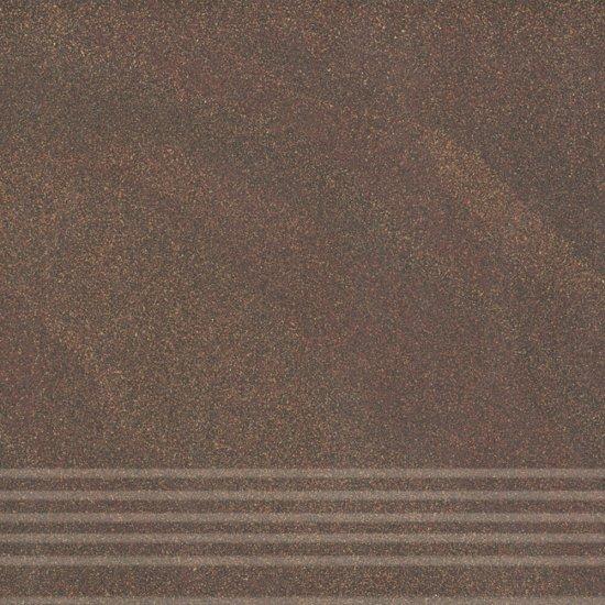 Gres zdobiony KANDO brązowy stopnica mat 29,55x29,55 gat. I