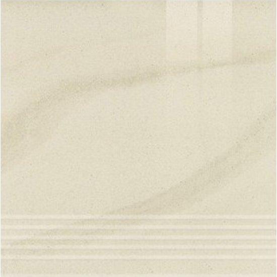 Gres zdobiony KANDO biały stopnica poler 29,55x29,55 gat. I