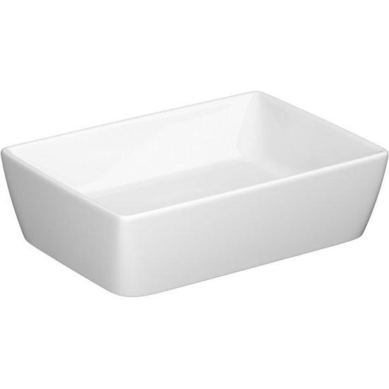 Umywalka pojedyncza nablatowa CITY SP50 PROSTOKĄTNA Z CERAMICZNYM KORKIEM BOX