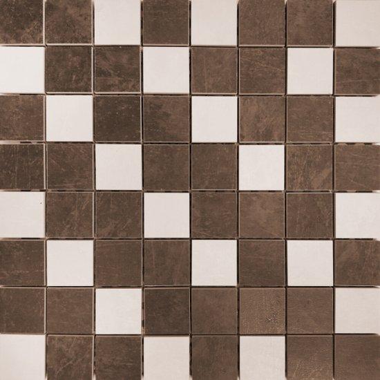 Gres szkliwiony COMPACTICO kremowo-brązowy mozaika 39,6x39,6 gat. I