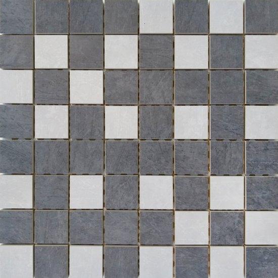 Gres szkliwiony COMPACTICO grafitowy, szary mozaika 39,6x39,6 gat. I