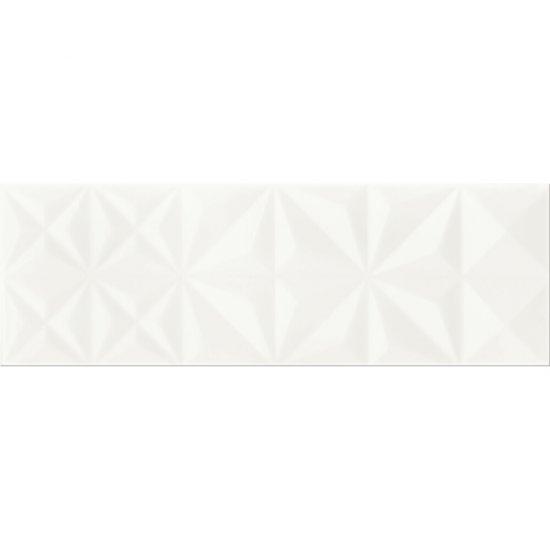 Płytka ścienna WHITE MAGIC biała struktura kwadraty błyszcząca 25x75 gat. II