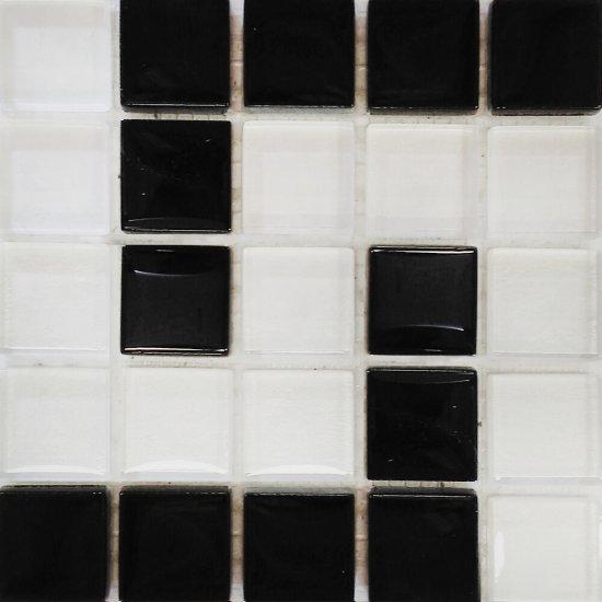 Płytka ścienna biało-czarna mozaika D błyszcząca 14,8x14,8 gat. I