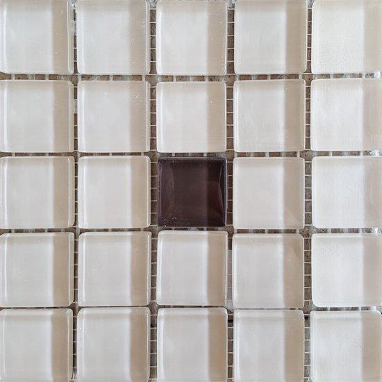 Płytka ścienna beżowo-brązowa mozaika A błyszcząca 14,8x14,8 gat. I