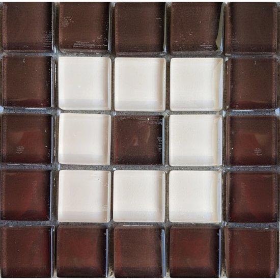 Płytka ścienna beżowo-brązowa mozaika C błyszcząca 14,8x14,8 gat. I