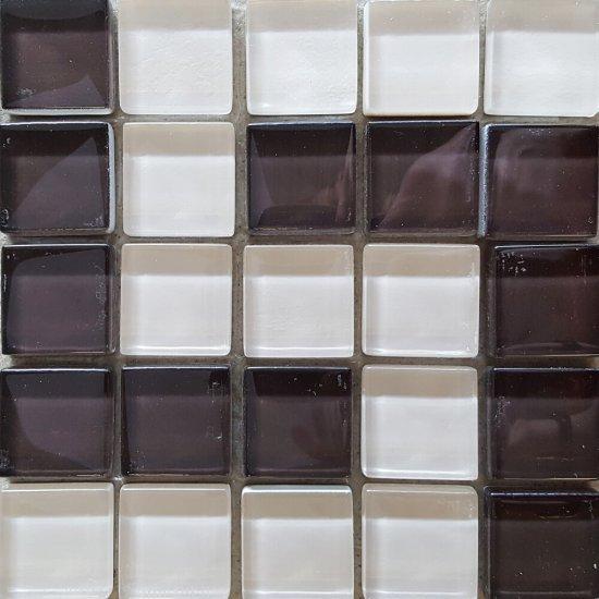 Płytka ścienna beżowo-brązowa mozaika D błyszcząca 14,8x14,8 gat. I