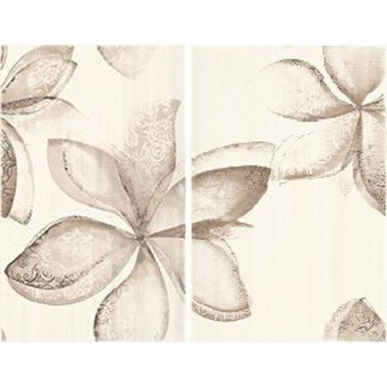 Płytka ścienna LILIUM beżowa inserto kwiaty błyszcząca 40x50 gat. I