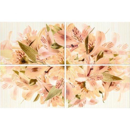 Płytka ścienna CALIPSO kremowa inserto kwiaty 60x90 gat. I