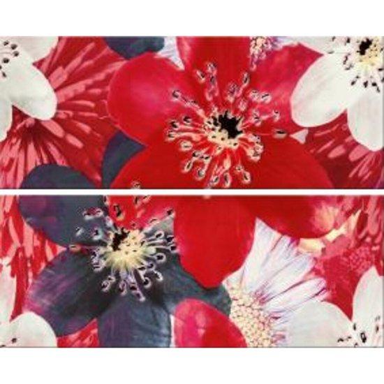 Płytka ścienna FRENCH LAKE czerwona inserto kwiaty 40x50 gat. I
