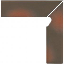Klinkier SHADOW BROWN brązowy cokół schodowy prawy mat 8x30 gat. I