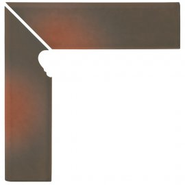 Klinkier SHADOW BROWN brązowy cokół schodowy lewy mat 8x30 gat. I
