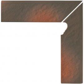 Klinkier SHADOW BROWN brązowy cokół schodowy prawy struktura 3-D mat 8x30 gat. I