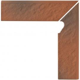 Klinkier SHADOW RED czerwony cokół schodowy prawy struktura mat 3-D 8x30 gat. I
