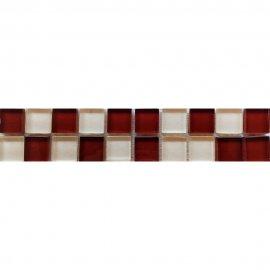 Płytka ścienna AROMA biało-brązowa listwa szklana mozaika 4,8x25 gat. I