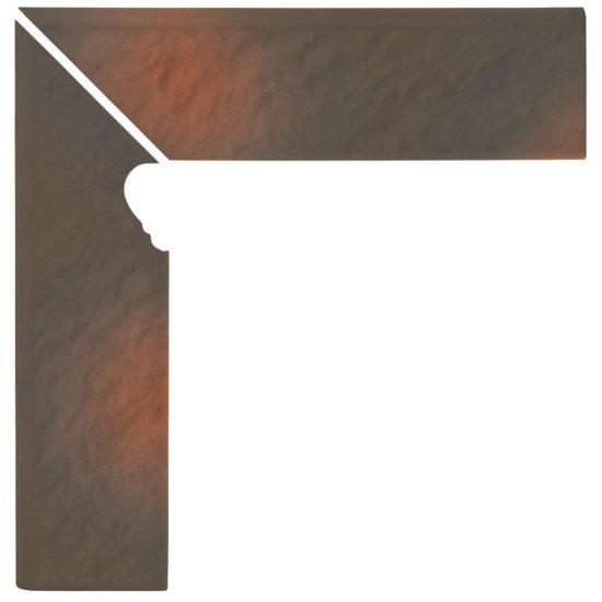 Klinkier SHADOW BROWN brązowy cokół schodowy lewy struktura 3-D mat 8x30 gat. I