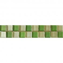 Płytka ścienna AROMA biało-zielona listwa szklana mozaika 4,8x25 gat. I