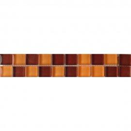Płytka ścienna AROMA brązowo-pomarańczowa listwa szklana mozaika 4,8x25 gat. I