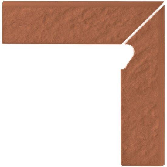 Klinkier SIMPLE RED czerwony cokół schodowy prawy 3-D mat 8x30 gat. I