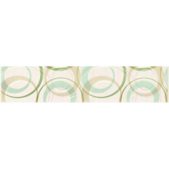 Płytka ścienna ATOLA biało-zielona listwa koła błyszcząca 6,5x30 gat. I