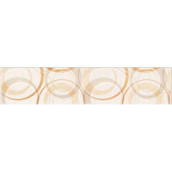 Płytka ścienna ATOLA biało-pomarańczowa listwa koła błyszcząca 6,5x30 gat. I
