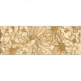 Płytka ścienna FLORES beżowa listwa kwiaty B błyszcząca 12,4x35 gat. I