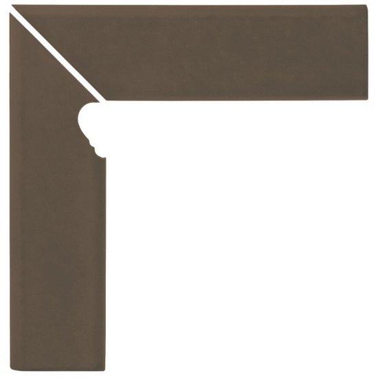 Klinkier SIMPLE BROWN brązowy cokół schodowy lewy mat 8x30 gat. I