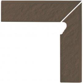 Klinkier SIMPLE BROWN brązowy cokół schodowy prawy 3-D mat 8x30 gat. I