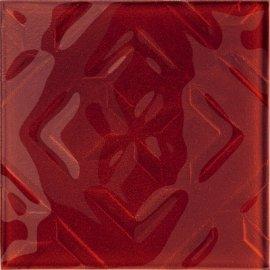 Płytka ścienna CUBAN CUBE czerwona inserto błyszcząca 20x20 gat. I