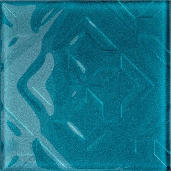 Płytka ścienna CUBAN CUBE niebieska inserto błyszcząca 20x20 gat. I