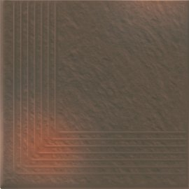 Klinkier SHADOW BROWN brązowy stopnica narożna struktura 3-D mat 30x30 gat. I