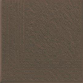 Klinkier SIMPLE BROWN brązowy stopnica narożna 3-D mat 30x30 gat. I