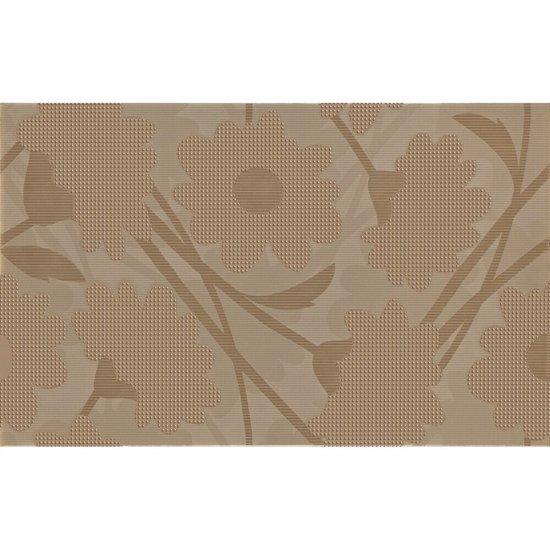 Płytka ścienna LAVANDE brązowa inserto kwiaty błyszcząca 25x40 gat. I