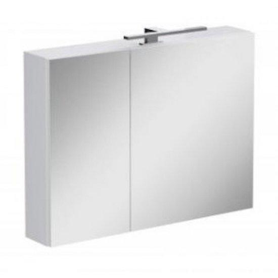 Szafka łazienkowa wisząca z lustrem STREET FUSION z oświetleniem 80x60x15 biała
