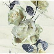 Płytka ścienna CARRARA biała inserto kwiaty 58,3x59,3 gat. I