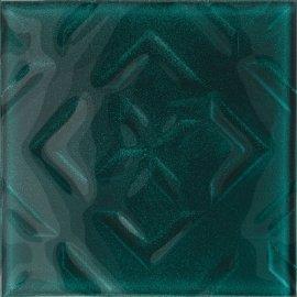 Płytka ścienna CUBAN CUBE zielona inserto błyszcząca 20x20 gat. I