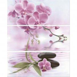Płytka ścienna JAPANESE GARDEN biała inserto kwiaty 50x60 gat. I