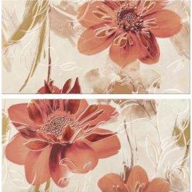 Płytka ścienna LAZIO biała inserto kwiaty 58,3x59,3 gat. I
