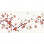 Płytka ścienna BIANCA biała inserto kwiaty błyszcząca 29,7x60 gat. I
