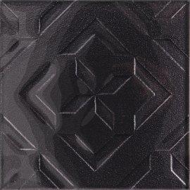 Płytka ścienna CUBAN CUBE grafitowa inserto błyszcząca 20x20 gat. I